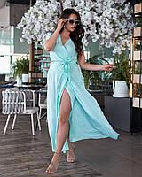 Длинное платье с запахом Мята