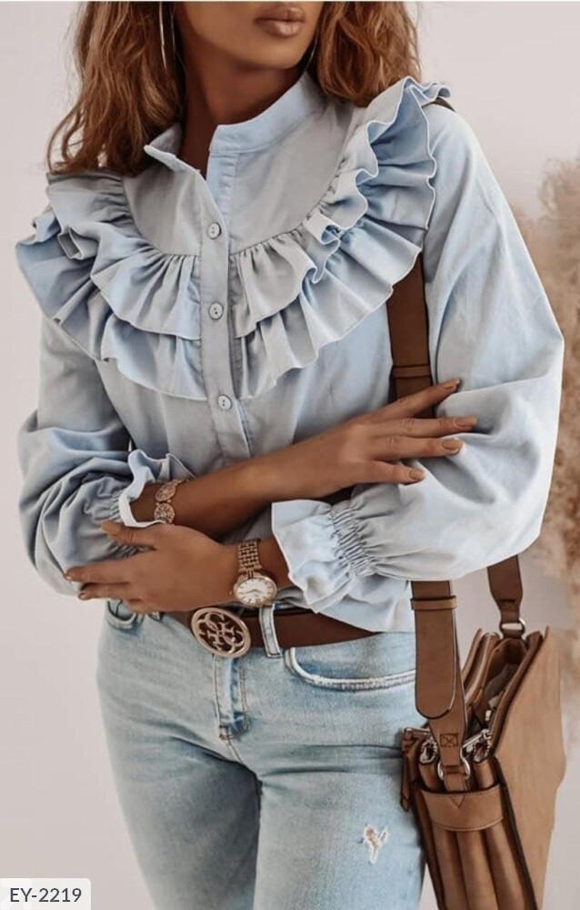 Женская стильная блузка с длинным рукавом с воланами из легкой ткани софт р-ры 42-44,46-48 арт 012
