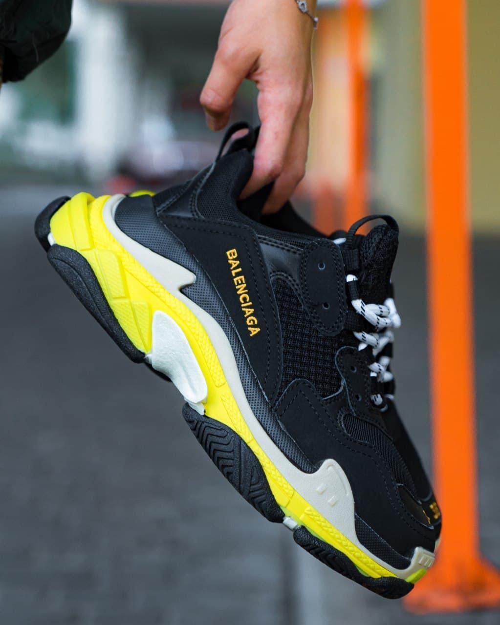 Женские кроссовки Balenciaga Triple S Black Yellow