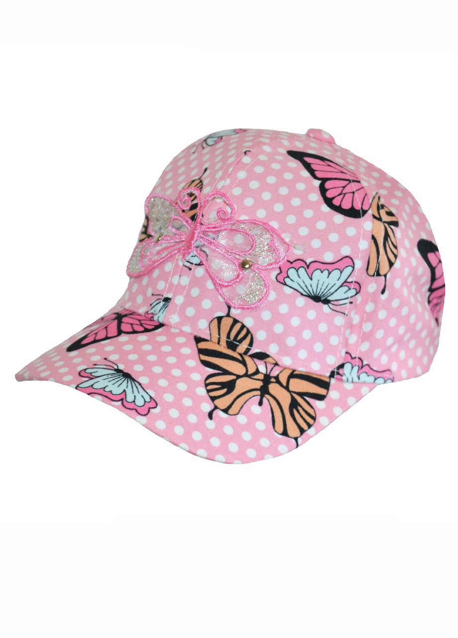 Кепочка для дівчинки з метеликами рожева