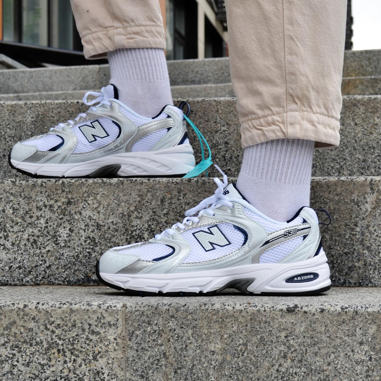 Кросівки чоловічі New Balance 530 White Blue Нью Беланс 530 Білі з Синім Репліка