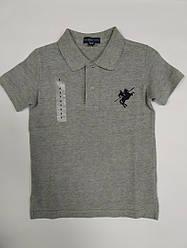 Стильная детская серая футболка  поло  на мальчика на рост 110-116 см
