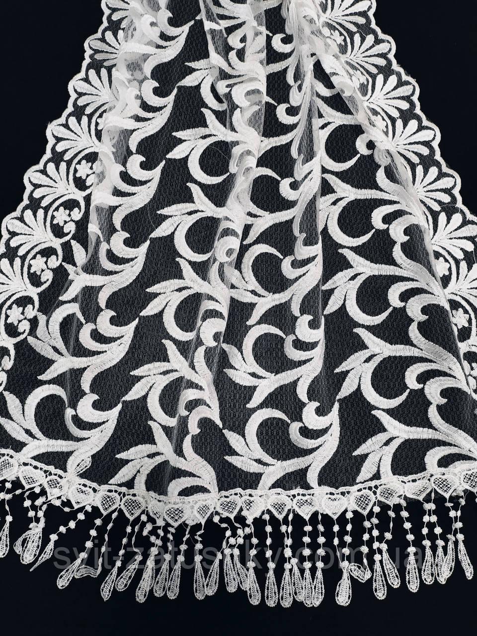 Шарф белый кружевной праздничный