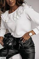 Блузка женская красивая белая с длинными рукавами р-ры 42-44,46-48 арт 016