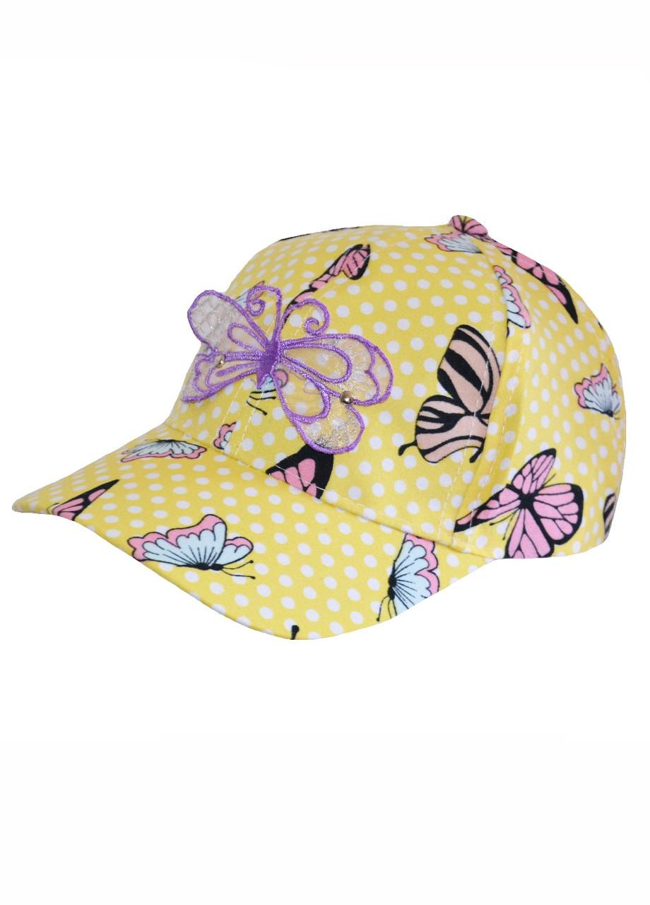 Кепка на девочку с бабочками желтая