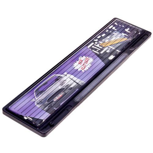 Рамка автомобильная для номера пластик GUARD Черная Отражатель Белый  PA-0123-S