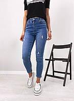 Женские стильные джинсы МОМ с потертостями, фото 1