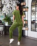 Женский велюровый костюм с коротким рукавом Размер 48 50 52 54 56 58 60 62 В наличии 3 цвета, фото 2