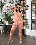 Женский велюровый костюм с коротким рукавом Размер 48 50 52 54 56 58 60 62 В наличии 3 цвета, фото 5