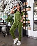 Женский велюровый костюм с коротким рукавом Размер 48 50 52 54 56 58 60 62 В наличии 3 цвета, фото 3