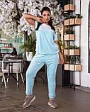 Женский велюровый костюм с коротким рукавом Размер 48 50 52 54 56 58 60 62 В наличии 3 цвета, фото 4