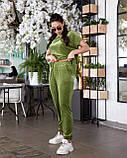 Женский велюровый костюм с коротким рукавом Размер 48 50 52 54 56 58 60 62 В наличии 3 цвета, фото 8