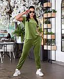 Женский велюровый костюм с коротким рукавом Размер 48 50 52 54 56 58 60 62 В наличии 3 цвета, фото 6