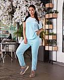 Женский велюровый костюм с коротким рукавом Размер 48 50 52 54 56 58 60 62 В наличии 3 цвета, фото 7