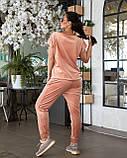 Женский велюровый костюм с коротким рукавом Размер 48 50 52 54 56 58 60 62 В наличии 3 цвета, фото 9