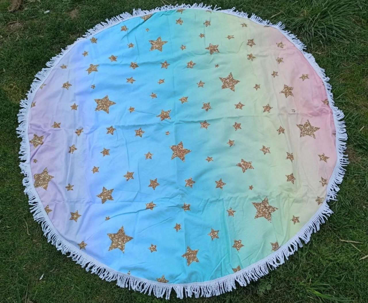 Пляжне покривало | Пляжний плед | Пляжний килимок | Пляжне кругле рушник.Розмір 150*150 см Зірки