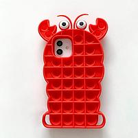 Силиконовый попит чехол антистресс pop it для телефона iPhone 12 mini кейс с пупыркой case рак, фото 2