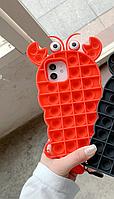 Силиконовый попит чехол антистресс pop it для телефона iPhone 12 mini кейс с пупыркой case рак, фото 4