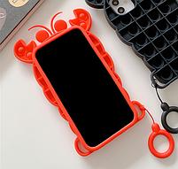 Силиконовый попит чехол антистресс pop it для телефона iPhone 12 mini кейс с пупыркой case рак, фото 3
