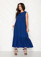 Летнее платье-сарафан свободного кроя Синий