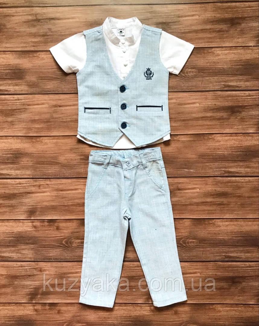 Детский костюм тройка: рубашка, жилетка, брюки на мальчика от 1 до 4 лет