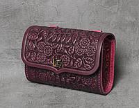 """Фиолетовая кожаная сумочка трансформер, сумочка-клатч на плечо/на пояс """"Незабудка"""""""