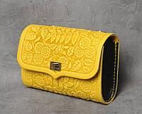 """Желтая кожаная сумочка трансформер, сумочка-клатч на плечо/на пояс """"Незабудка"""""""