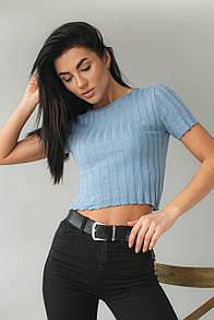 Женская футболка в широкий рубчик в голубом цвете M