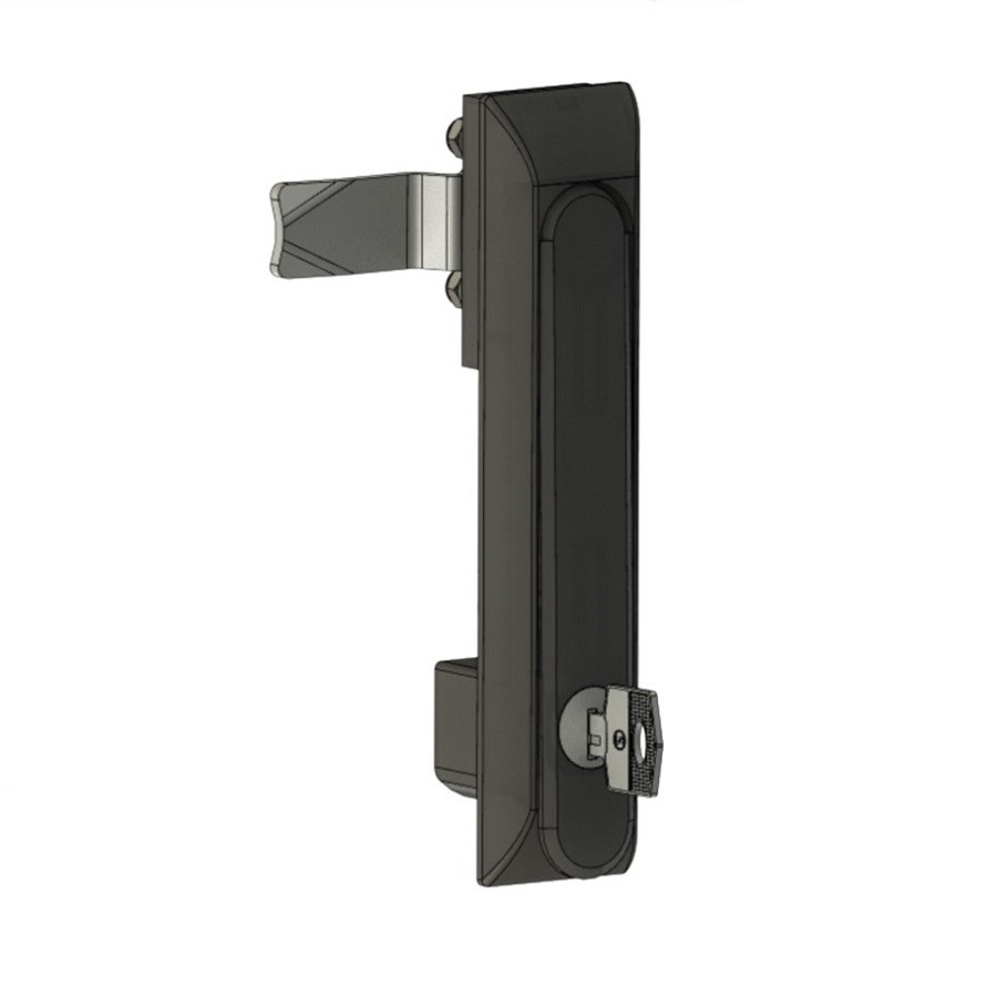 Замок ручка без тяг RZ 001-1, для металл. шкафа, кривой язык 7 мм, 3 точки, вставка под 1 ключ (33)