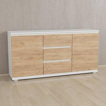 Комод Без Ручек Дуб Крафт,Белый, IB-3 Woodin 1502х759х390мм