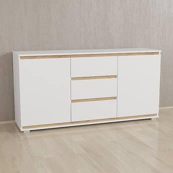 Комод Без Ручек Белый-Планки Дуб крафт IB-3 Woodin 1502х759х390мм