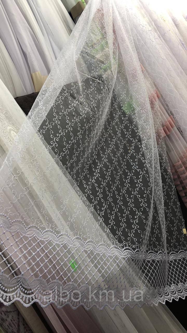 Фатиновый тюль с вышивкой белый, высота 2,85м (8005)