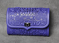 "Кожаная сумочка трансформер, сумочка-клатч на плечо/на пояс ""Незабудка"", синяя сумочка"