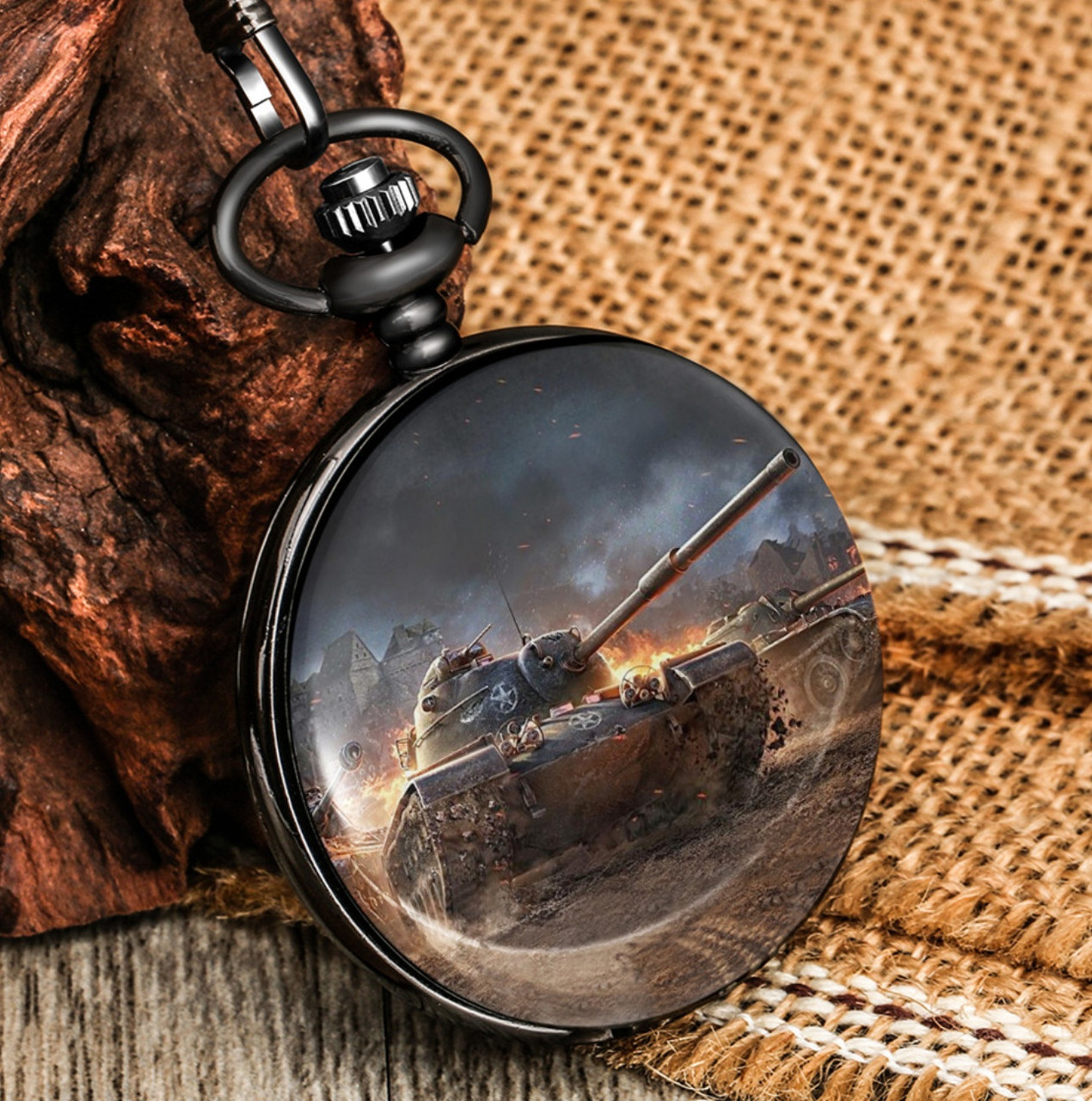 Карманные мужские часы на цепочке танк