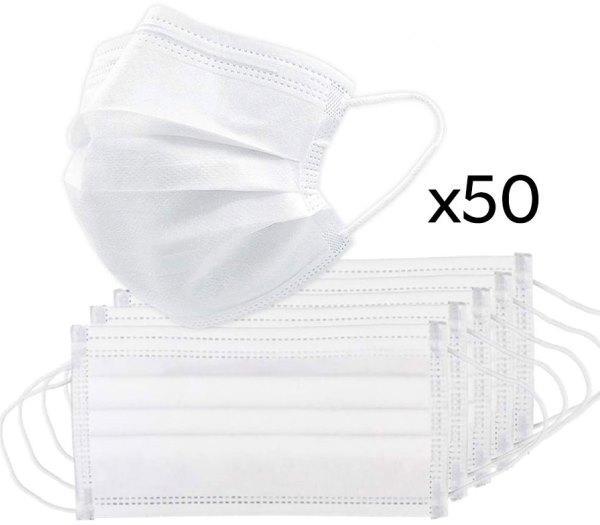 Маска медична одноразова нестерильна біла (3-х шарова спанбонд) 50 шт/уп