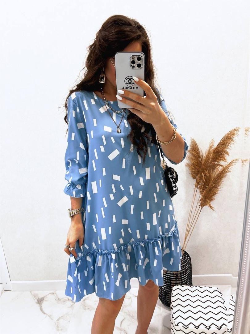 Жіноче легке плаття з софта з нижнім рюшем (Норма)