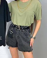 Жіночі стильні джинсові шорти з поясом і гаманцем в комплекті, фото 1