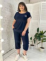 Женский летний костюм большого размера Инга р. 50-64 синий, фото 1