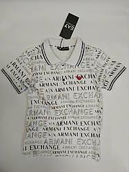 Белая стильная футболка поло  для мальчика  на рост 110-116 см