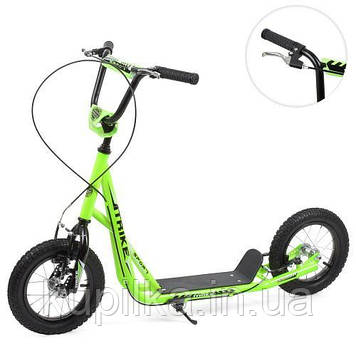 Двухколесный самокат для детей с резиновыми колесами и ручным тормозом SR 2-045-3-GR (цвет, зеленый)