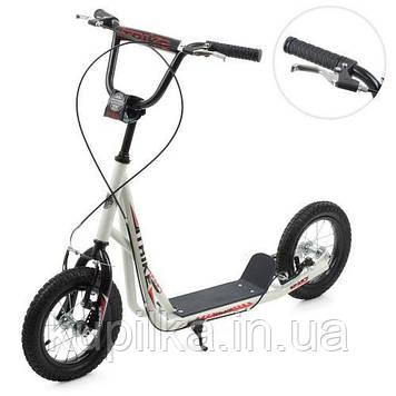 Самокат 2-х колесный для детей с ручным тормозом, надувными колесами и подножкой SR 2-045-3-W (цвет, белый)