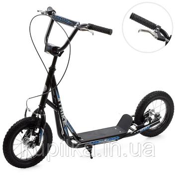 Детский самокат с двумя колесами, ручным тормозом для подростков и детей ITrike SR 2-045-3-B (черный)
