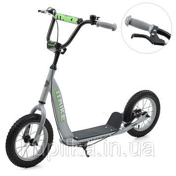 2-х колесный самокат для ребенка с большими резиновыми колесами и подножкой ITrike 2-043-1-G (серый)
