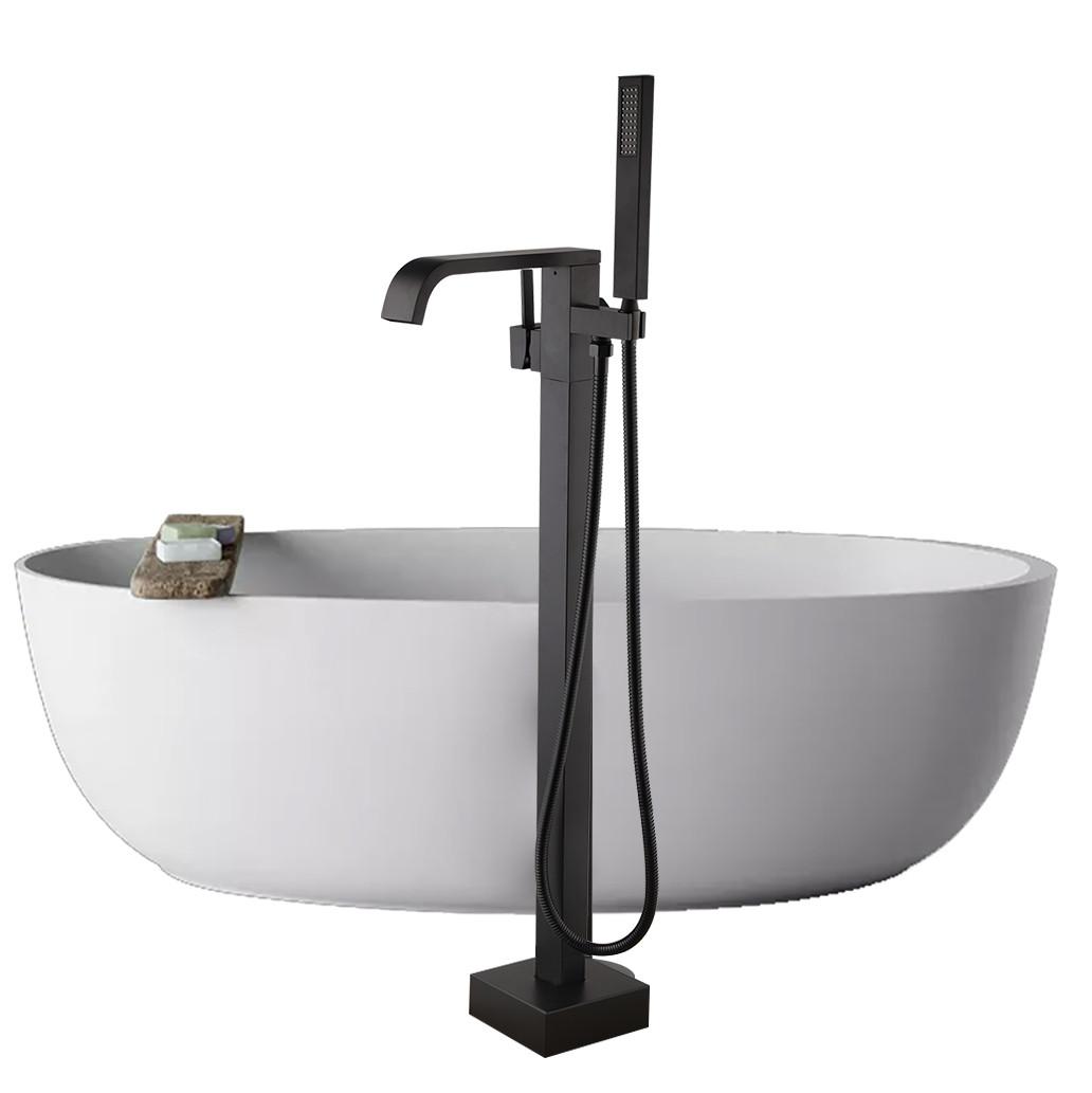 Змішувач для ванни WanFan кран, підлоговий душ Чорний