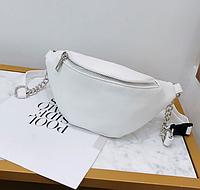 Поясная сумка женская, бананка, сумка на пояс белая