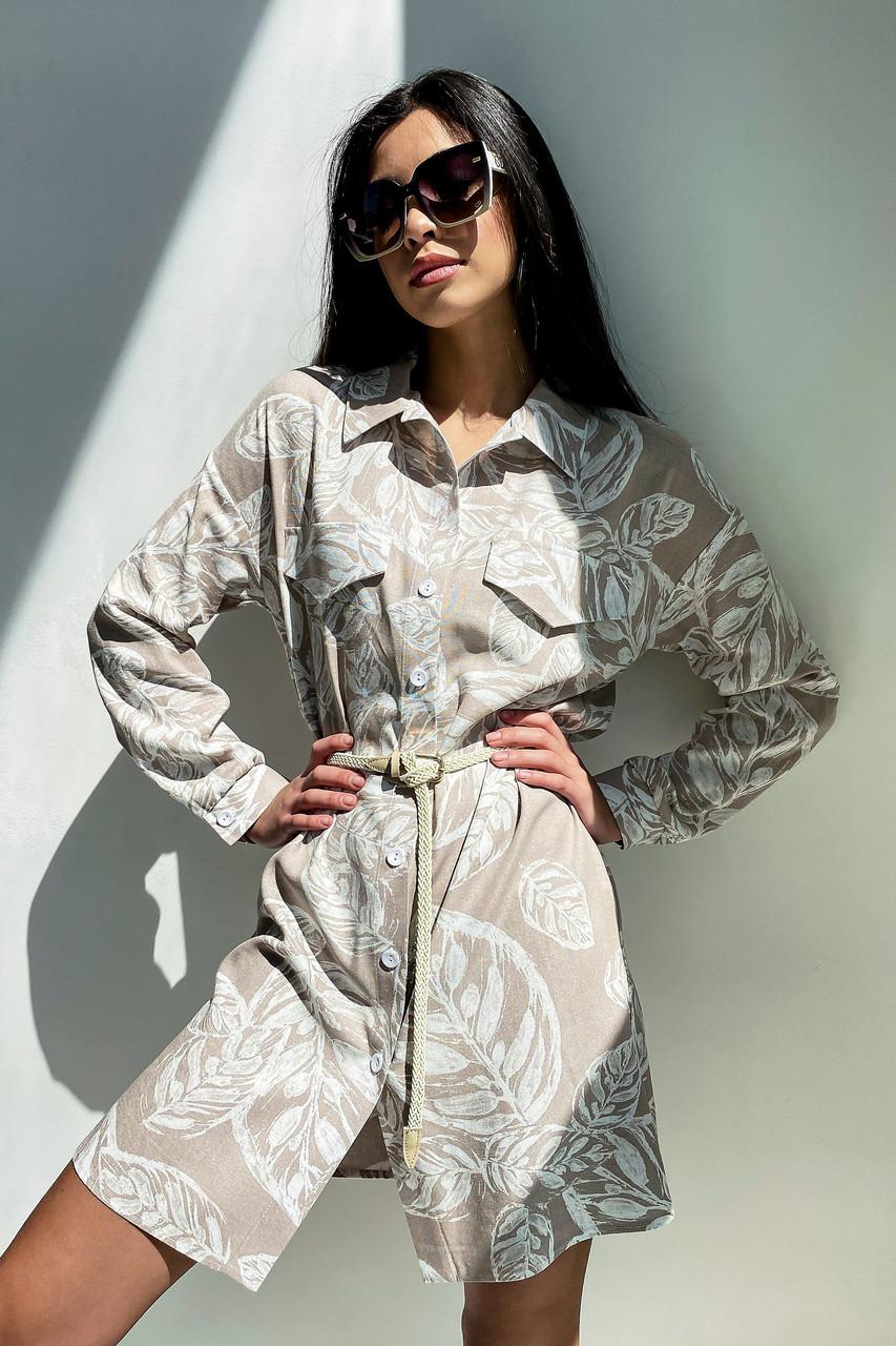 Льняное платье рубашка летнее короткое с длинным рукавом цветочным принтом кофе