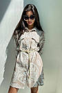 Льняное платье рубашка летнее короткое с длинным рукавом цветочным принтом кофе, фото 2