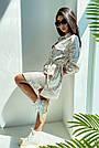 Льняное платье рубашка летнее короткое с длинным рукавом цветочным принтом кофе, фото 3