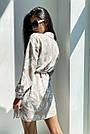 Льняное платье рубашка летнее короткое с длинным рукавом цветочным принтом кофе, фото 4