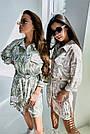 Льняное платье рубашка летнее короткое с длинным рукавом цветочным принтом кофе, фото 5